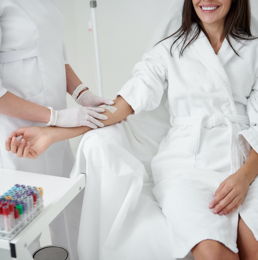 girl receiving an iv at Life Gaines Med Spa Boca Raton